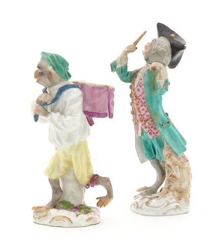 Two Meissen monkey band figures of a drummer and drum-bearer, third quarter 18th century