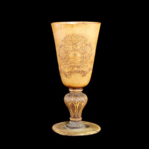 A 19th century rhinoceros horn beaker