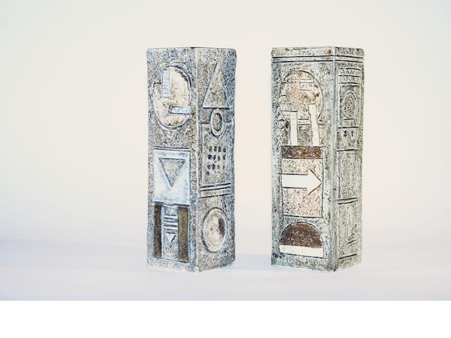 Two Troika rectangular from vases, by Alison Brigden and an unknown artist Circa 1970
