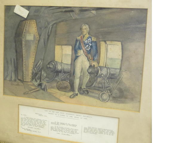 Nelson in his cabin on the Victory, watercolour