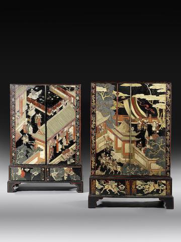 The Bury Hill CabinetsTwo George III coromandel lacquer cabinets, incorporating 17th century panels