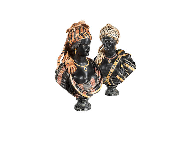 A pair of early 20th century Venetian specimen marble busts of an African king and queen