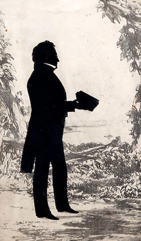 Augustin Amant Constant Fidèle Edouart (French, 1789-1861) A silhouette of a gentleman, full length holding a book before a coastal landscape
