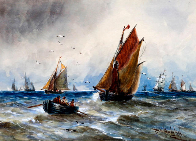 Attributed to R.T. Wilding (British, active circa 1915) Shipping off the coast, a pair