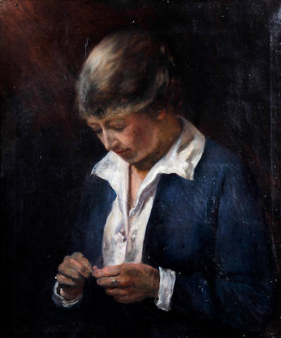British School, (circa 1920) Portrait of a lady knitting in blue jacket
