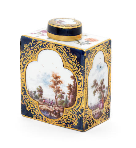 A Meissen blue-ground rectangular tea canister and cover, circa 1740