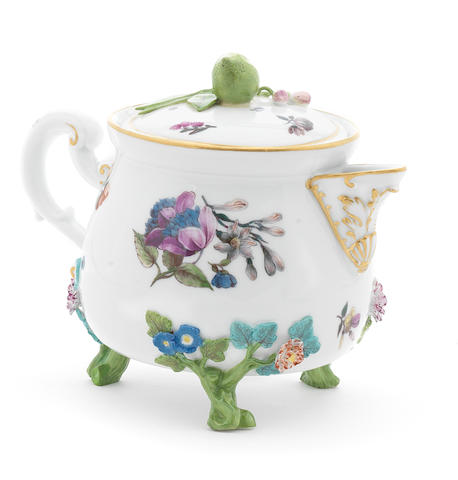 A Meissen cream pot and cover, circa 1745