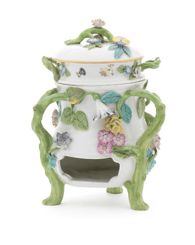 A rare Meissen rechaud and liner, circa 1750