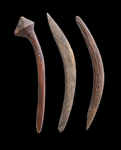 Two Boomerangs and a Club, New South Wales and South West Queensland Lengths: 62cm, 64cm, 64cm respectively