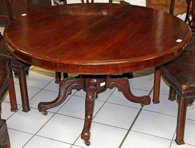A circular mahogany tilt-top dining table,Victorian and later,