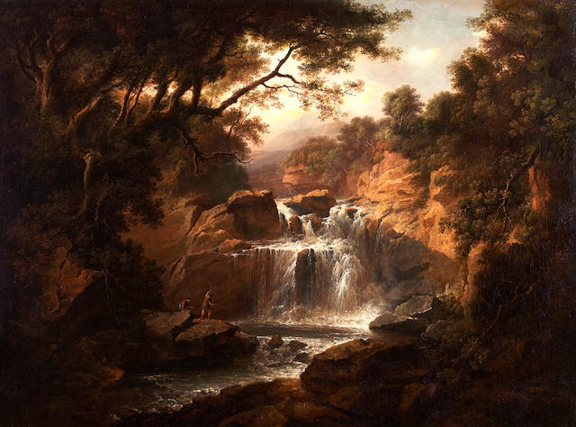 Alexander Nasmyth (Edinburgh 1758-1840) Figures fishing by a waterfall 91 x 122 cm. (35 13/16 x 48 1/16 in.)