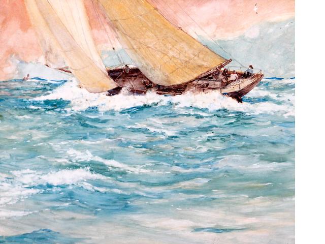 Oswald Garside (British, 1879-1942) A trawler racing in a fast breeze