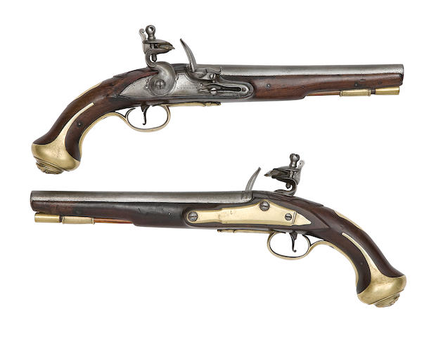 A Rare Brace Of 25-Bore Flintlock Pistols For The 1st Regiment Of Horse, Later The Royal Horseguards (The Blues)