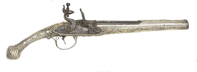 A Balkan 20-Bore Flintlock Holster Pistol With Nielloed Silver-Gilt Stock