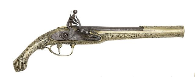 A Balkan 18-Bore Flintlock Holster Pistol With Brass Stock