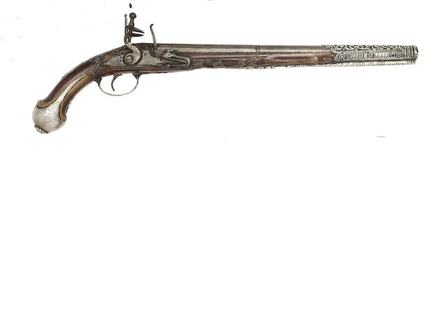 A Turkish 25-Bore Silver-Mounted Flintlock Holster Pistol