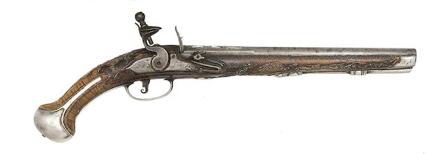 A Turkish 32-Bore Silver-Mounted Flintlock Holster Pistol