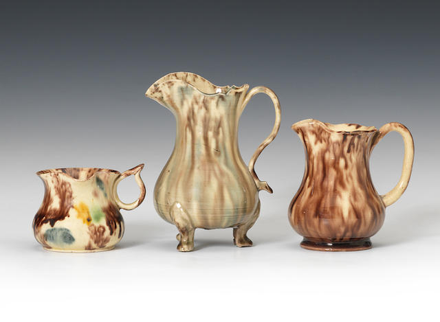 Three Staffordshire lead-glazed creamjugs, circa 1760-65