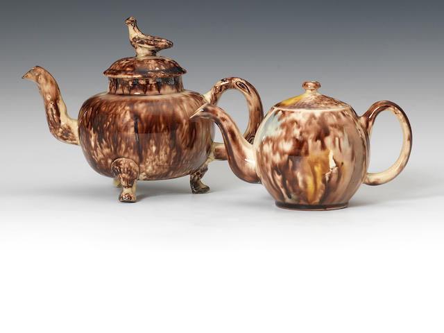 Two 'Tortoiseshell' teapots and covers, Staffordshire and Cockpit Hill, circa 1755-65