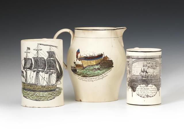 Two mugs and a jug, Sunderland/ships, circa 1793-96