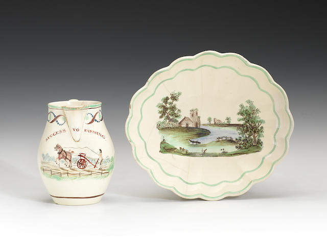 A creamware jug and a Turner creamware dish painted in the workshop of William Absolon, circa 1795