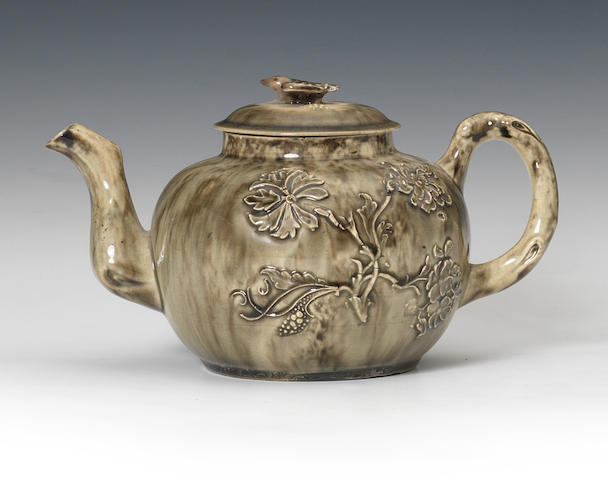 A rare Staffordshire lead-glazed teapot and cover, circa 1750