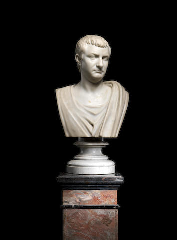 Studio of Orazio Andreoni (Italian, Fl. late 19th century) A marble bust of a Roman Emperor together with a pedestal Possibly Tiberius
