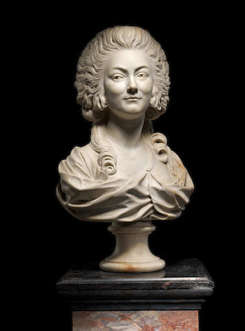 A late 19th century French marble bust of Marie Antoinette