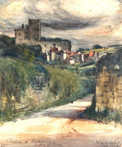 Francis Campbell Boileau Cadell, RSA RSW (British, 1883-1937) Château de Loches, Indre et Loire 28.3 x 21.5 cm. (11 1/8 x 8 7/16 in.)