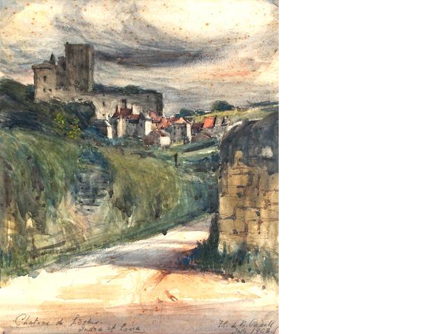 Francis Campbell Boileau Cadell (Scottish, 1883-1937) Château de Loches, Indre et Loire 28.3 x 21.5 cm. (11 1/8 x 8 7/16 in.)