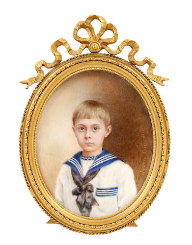 Jerome Girardier (French, active circa 1896) A Young Boy, wearing a white chemise edged with blue and white stripes, a blue and white striped sailor collar, tied with a black ribbon bow