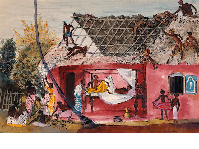 Donald Friend (1915-1989) Thatching the Roof