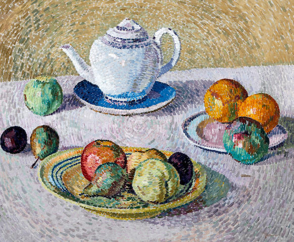 Henry Vitofski (British), (20th Century) Still life with fruit and teapot