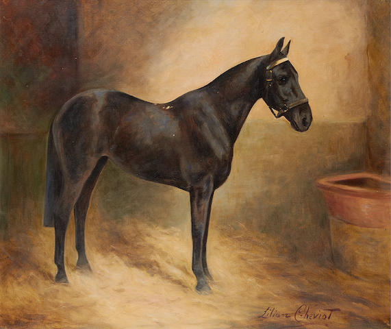 Lilian Cheviot (British, active 1894-1930) A profile portrait of a black mare in a stable