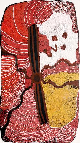 Kathleen Padoon Napanangka (born circa 1938) Ngapa Tjukurrpa (Rain Dreaming)