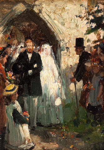 John Robertson Reid (British, 1851-1926) The Village Wedding 19 x 13.5 cm. (7 1/2 x 5 5/16 in.)