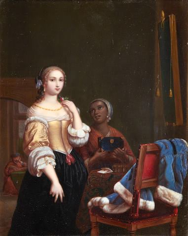 Manner of Frans van Mieris the Elder, 19th Century A lady at her toilet