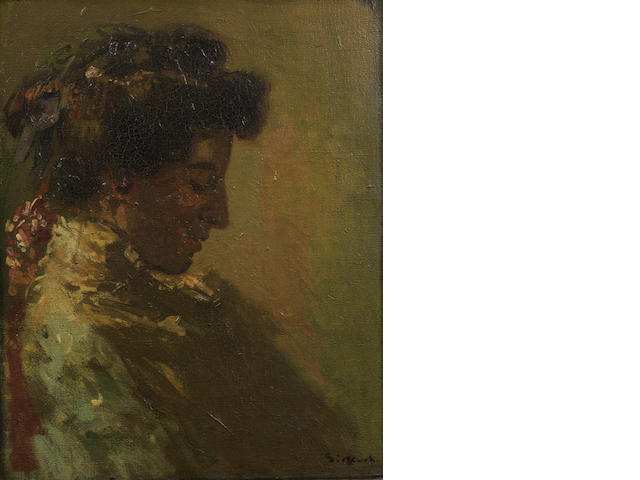 Walter Richard Sickert A.R.A. (British, 1860-1942) Woman in Profile with Downcast Eyes 50.8 x 40.6 cm. (20 x 16 in.)