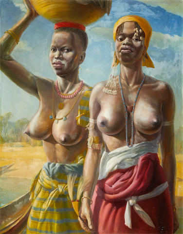 Victor Ernest Elford (British, 1911-2003) 'Two sisters', West Africa