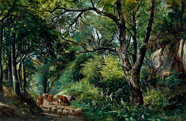 Alfred Clint (British, 1807-1883)    A wooded landscape with sheep and cattle on a path