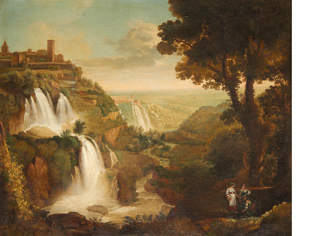 Follower of Jacob Philippe Hackert (Prenzlau 1737-1807 San Pietro di Careggi) The falls at Tivoli
