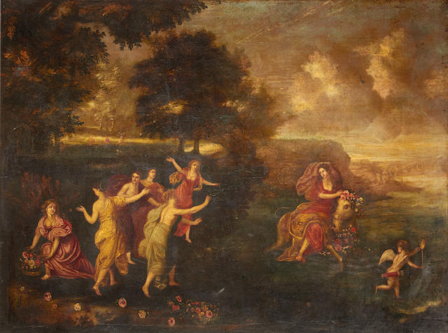 18th Century Italian School, Europa and the Bull, oil on canvas, 120 x 150 cm