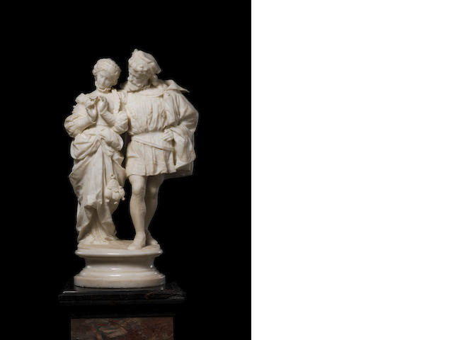 A late 19th century Italian carved marble group of a courting couplesigned F. Palla