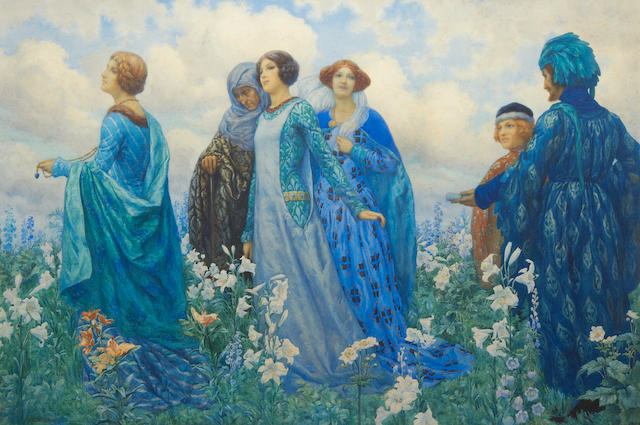 Harry George Theaker (British, 1873-1954) Ladies in a field