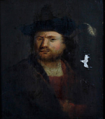 Follower of Rembrandt A portrait of a young man wearing a hat with a feather, possibly derived from a self portrait