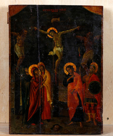 Greek School (19th Century) An icon of the Crucifixion, with the Three Marys, Roman soldiers and Saint John