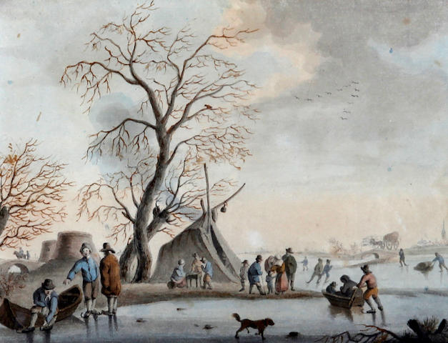 Follower of Andries Vermeulen (Dordrecht 1763-1814 Amsterdam) Skaters on a frozen river, with tents by the river side