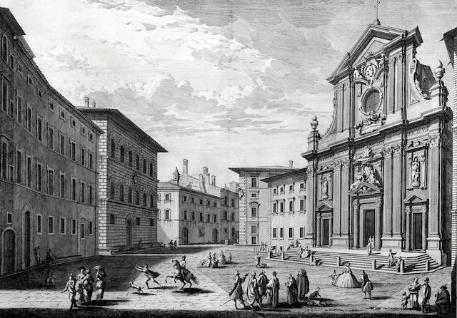 Giuseppe Vasi (Italian, 1710-1782) after Giuseppe Zocchi 'Veduta della Chiesa di S. Michele Bertelde de P.P. Teatini'