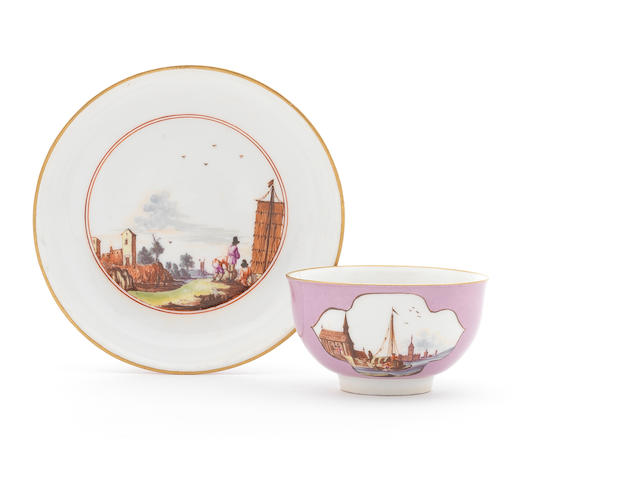 A Meissen lavender-ground teabowl and saucer, circa 1740