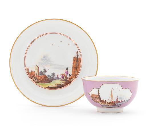 A Meissen lavender-ground teabowl and saucer, circa 1740